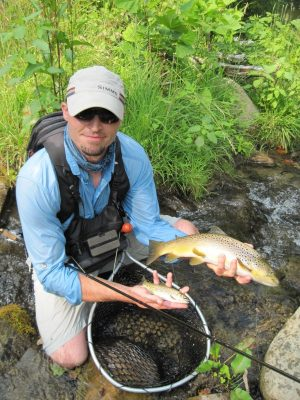 Nantahala river fly fishing trout double josh stephens for Nantahala lake fishing