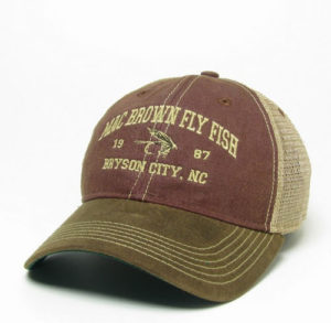 a91bb5550 Mac Brown Fly Fish Custom Trucker Hats-Smokies town of Bryson City NC